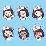 Professione d'infermiera emozionale e molti gesti illustrazione di stock