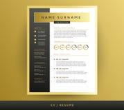 Professioneel cv/hervat malplaatje in zwarte en gouden kleuren - vec stock illustratie