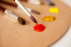 Professioneel die penseel in rode olieverf op palet wordt ondergedompeld Royalty-vrije Stock Fotografie