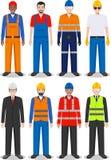 Professioneel mensenconcept Reeks van verschillende gedetailleerde illustratie van arbeider, bouwer en ingenieur in vlakke stijl  vector illustratie