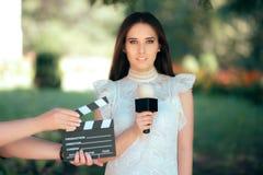 Professioneel Vrouwelijk Talent Auditioning voor het Videoafgietsel van de Filmfilm stock foto's