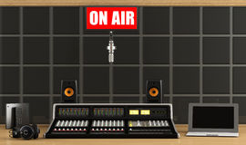 Professionele audiomixer in een opnamestudio royalty-vrije illustratie