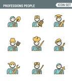 Professionele avatars van de bedrijfsmensenlijn Pictogrammen van het karakter de vlakke die ontwerp met van de de zakenmanlandbou Royalty-vrije Stock Afbeelding