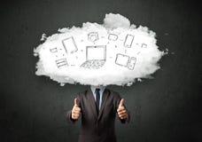 Professionele bedrijfsmens met het hoofd van het wolkennetwerk Royalty-vrije Stock Afbeeldingen