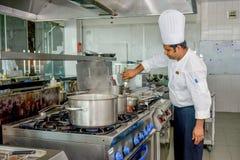 Professionele chef-kok die ingrediënten toevoegen aan de schotel terwijl het koken royalty-vrije stock fotografie