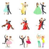Professionele Danser Couple Dancing Tango, Wals en Andere Dansen bij het Dansen de Inzameling van Wedstrijddancefloor royalty-vrije illustratie