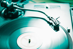 Professionele de muziekspeler van het draaischijf audio vinylverslag Stock Foto