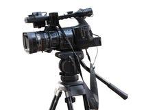 Professionele de studio digitale die videocamera van TV op wit wordt geïsoleerd royalty-vrije stock afbeeldingen