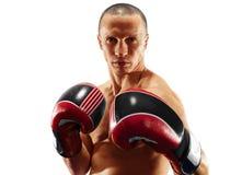 Professionele die bokser in zwarte dark wordt ge?soleerd als achtergrond stock foto