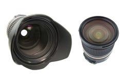 Professionele die lens op wit wordt geïsoleerd Stock Foto