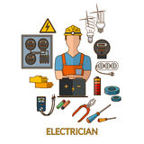 Professionele elektricien met het silhouet van elektriciteitshulpmiddelen Stock Afbeelding