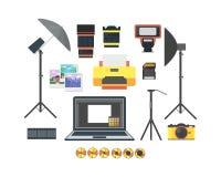 Professionele Fotograaf Equipment Set Vector Royalty-vrije Stock Afbeeldingen