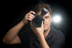 Professionele fotograaf op het werk royalty-vrije stock afbeeldingen