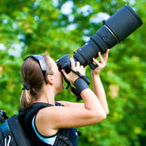 Professionele fotograaf openlucht Stock Foto's