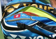 Professionele het tenniszak van Yonex van de tennisspeler Stanislas Wawrinka aangepaste bij US Open 2013 Stock Fotografie