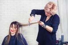 Professionele kapper die kapsel maken royalty-vrije stock afbeeldingen