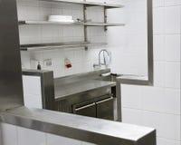 Professionele keuken, meningsteller in staal Stock Afbeeldingen