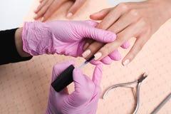 Professionele manicure die kleurrijk nagellak tonen om het afwerkingsresultaat te controleren stock fotografie