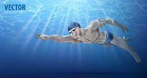 Professionele mannelijke zwemmer binnen zwembad Een mens duikt in het water De zomerachtergrond Textuur van waterspiegel Royalty-vrije Stock Foto's