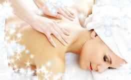 Professionele massage met sneeuwvlokken #2 royalty-vrije stock fotografie