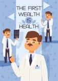 Professionele medische de arbeidersarts van het artsen vector doctorale karakter met geneeskunde-borst in kliniekillustratie royalty-vrije illustratie