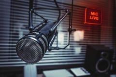 Professionele Microfoon in Studio royalty-vrije stock afbeeldingen