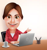 Professionele Onderneemster of Secretaresse Vector Character Working in Bureau met Laptop Stock Foto's