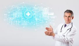 Professionele onderzoeker met stethoscoop stock foto