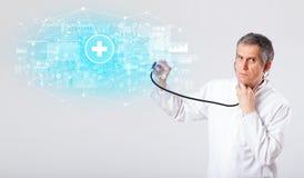 Professionele onderzoeker met stethoscoop stock illustratie
