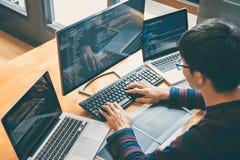Professionele Ontwikkelingsprogrammeur die in programmeringswebsi werken royalty-vrije stock afbeeldingen