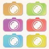 Professionele photocamera verwijderde die kleurenpictogrammen op document achtergrond worden geplaatst Royalty-vrije Stock Afbeelding