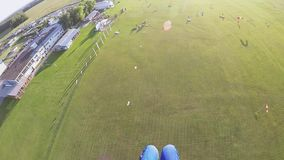 Professionele skydiver die in zonnige dag parachuteren Het landen op groen gebied stock video
