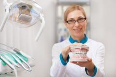 Professionele tandarts die bij zijn tandkliniek werken stock afbeelding