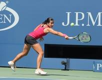 Professionele tennisspeler Anastasija Sevastova van Letland in actie tijdens haar US Open 2016 ronde gelijke vier royalty-vrije stock foto's