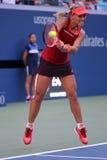 Professionele tennisspeler Angelique Kerber van Duitsland in actie tijdens US Open 2015 derde ronde gelijke Stock Foto's