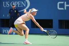 Professionele tennisspeler Caroline Wozniacki tijdens derde ronde gelijke bij US Open 2014 tegen Mariya Sharapova Royalty-vrije Stock Foto's