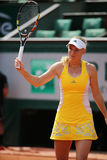 Professionele tennisspeler Caroline Wozniacki van Denemarken tijdens haar derde ronde gelijke in Roland Garros Royalty-vrije Stock Foto's