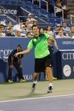 Professionele tennisspeler Dominic Thiem van Oostenrijk tijdens ronde gelijke 4 tegen Tomas Berdych Stock Foto