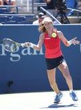Professionele tennisspeler Johanna Konta van Groot-Brittannië in actie tijdens haar derde ronde US Open 2015 gelijke Stock Foto