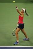 Professionele tennisspeler Johanna Konta van Groot-Brittannië in actie tijdens haar vierde rond US Open 2015 Royalty-vrije Stock Afbeelding