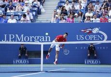 Professionele tennisspeler Novak Djokovic tijdens vierde ronde gelijke bij US Open 2013 Royalty-vrije Stock Afbeelding