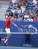 Professionele tennisspeler Novak Djokovic tijdens vierde ronde gelijke bij US Open 2013 tegen Marcel Granollers Stock Afbeeldingen