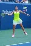 Professionele tennisspeler Roberta Vinci van Italië in actie tijdens haar eerste ronde gelijke bij US Open 2016 Royalty-vrije Stock Foto