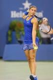 Professionele tennisspeler Sara Errani van Italië tijdens US Open 2014 ronde gelijke 4 tegen Caroline Wozniacki Stock Foto's