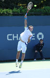 Professionele tennisspeler Sergiy Stakhovsky van de Oekraïne tijdens eerste ronde gelijke bij US Open 2013 Stock Afbeelding