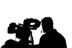 Professionele TV-cameraman met hoofdtelefoonssilhouet Stock Afbeeldingen