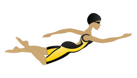 Professionele vrouwenzwemmer stock illustratie