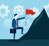 Professionele zakenman met aktentas en rode vlag stock illustratie