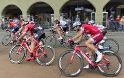 Professionell som cyklar lag på Tour de Suisse 2017 etapp 3 från Bern switzerland Arkivbilder