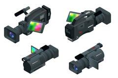 Professionelle digitale Videokamera Flache isometrische Illustration 3d für infographics und Design Camcorder und Ausrüstung stock abbildung